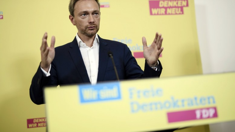 FILE PHOTO. Christian Lindner, chairman of the German Free Democratic Party (FDP) and top candidate for the parliamentary elections, gestures as he speaks during a press conference in Berlin, Germany. EPA/CLEMENS BILAN