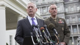 File Photo: US Secretary of Defense James Mattis (L) with Chairman of the Joint Chiefs of Staff Joseph Dunford (R) at The White House, in Washington, DC, USA, 03 September 2017. EPA, CHRIS KLEPONIS / POOL