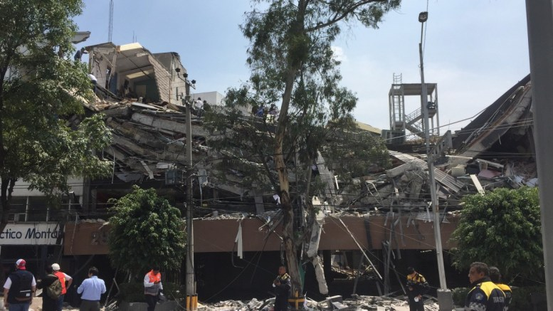 View of a collapsed building following a magnitude 7.1 earthquake on the Richter scale in Mexico City, Mexico, 19 September 2017. The earthquake hit the state of Puebla at a depth of 32 miles (51 km). EPA, Alejandro Cruz