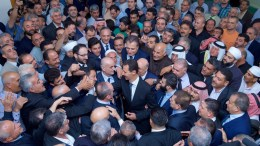 A handout photo made available by the Syrian Arab News Agency (SANA) shows Syrian President Bashar al-Assad (C) as he arrives to perform the Eid al-Adha prayer at the Bilal Mosque in the Qara region of the Damascus countryside, Syria, 01 September 2017. EPA, SANA HANDOUT, EDITORIAL USE ONLY
