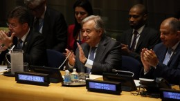 FILE PHOTO: United Nations Secretary General Antonio Guterres (C) applauds at the signing ceremony for the Treaty on the Prohibition of Nuclear Weapons during the 2nd day of the General Debate of the 72nd United Nations General Assembly at at UN headquarters in New York, New York, USA, 20 September 2017. EPA, PETER FOLEY
