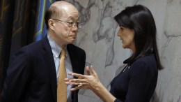 File Photo: US Ambassador to the United Nations Nikki Haley (R) speaks with UN Chinese Ambassador Liu Jieyi (L), before a Security Council meeting on the situation in North Korea, at United Nations headquarters in New York, New York, USA, 04 September 2017. EPA, PETER FOLEY