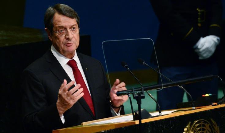 Ο πρόεδρος Αναστασιάδης στη Γενική Συνέλευση του ΟΗΕ. Φωτογραφία Αρχείου ΚΥΠΕ.