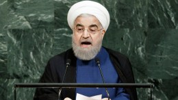 Hassan Rouhani of Iran speaks during the General Debate of the 72nd United Nations General Assembly at UN headquarters in New York, New York, USA, 20 September  2017.  The annual gathering of world leaders formally opened on 19 September 2017, with the theme, 'Focusing on People: Striving for Peace and a Decent Life for All on a Sustainable Planet.'  EPA/JUSTIN LANE