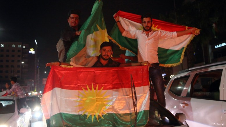 FILE PHOTO. Kurdish people celebrate in streets after the Kurdistan independence referendum in Erbil northern Iraq. EPA, GAILAN HAJI