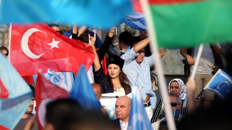 Turkish protestors hold Turkish and Turkmen flags as they shout slogans against Kirkuk for taking part in the Kurdish referendum during a demonstration in Istanbul, Turkey, 24 September 2017. The Kurdistan region is an autonomous region in northern Iraq since 1991, with an estimated population of 5.3 million people. The region share borders with Turkey, Iran and Syria, all of which have large Kurdish minorities. On 25 September the Kurdistan region holds a referendum for independence and the creation of the state of Kurdistan amidst divided international support. EPA, ERDEM SAHIN