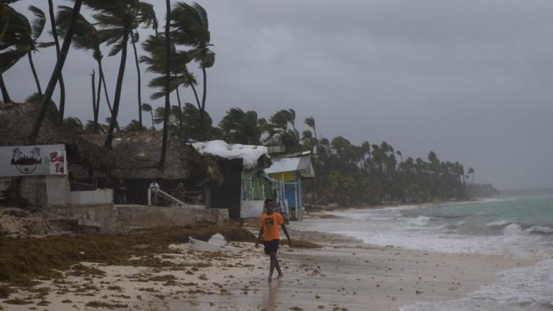 FILE PHOTO. A child at El Cortecito beach hours before the arrival of hurricane Maria in Punta Cana, Dominican Republic. EPA/Orlando Barría