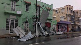 View of the damage caused by Hurricane Maria as it passes through San Juan, Puerto Rico, 21 September 2017. Hurricane Maris, the most powerful storm to hit Puerto Rico in nearly a century, has knocked out power, caused flooding and mudslides.  EPA/Jorge J. Muniz