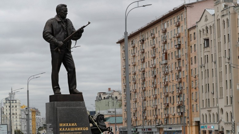 People gather for opening ceremony of the monument of Russian constructor and the creator of the world famous Kalashnikov assault rifle, Mikhail Kalashnikov in downtown Moscow, Russia, 19 September 2017. Mikhail Kalashnikov, the Russian inventor of the Kalashnikov assault rifle, has died on 23 December 2013 at the age of 94. More than 100 types of the weapons created by Mikhail Kalashnikov during 55 years of his work as arms consructor. EPA/SERGEI ILNITSKY