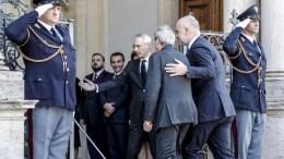 Prime Minister of Albania Edi Rama (C-R) walks next to Prime Minister of Italy Paolo Gentiloni (C) during their meeting at Villa Doria Pamphili in Rome, Italy, 11 October 2017. EPA, GIUSEPPE LAMI