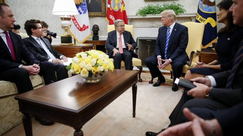 US President Donald J. Trump (R) listens as the UN Secretary General Antonio Guterres (L) delivers remarks during a meeting in the Oval Office of the White House in Washington, DC, USA, 20 October 2017. EPA, SHAWN THEW