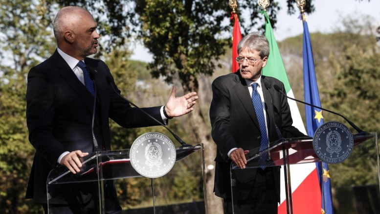FILE PHOTO: Italian premier Paolo Gentiloni (R) and his Albanian counterpart Edi Rama (L) during a joint press conference at the end of their meeting at Villa Doria Pamphili in Rome, Italy, 11 October 2017. EPA, GIUSEPPE LAMI