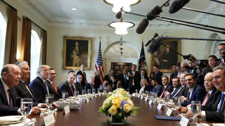 File Photo: US President Donald J. Trump hosts Greek Prime Minister Alexis Tsipras for a working lunch in the Cabinet Room of the White House, in Washington, DC, USA, 17 October 2017. EPA, Martin H. Simon / POOL