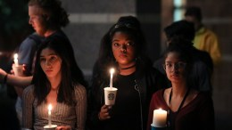 Student mourners stand in silence during a candlelight vigil at the University of Nevada Las Vegas (UNLV) for victims of a mass shooting in Las Vegas, Nevada, USA, 02 October 2017. Police reports indicate that a gunman, identified as Stephen Paddock, 64, firing from an upper floor of the Mandalay Bay hotel killed at least 58 people and injured more than 500 before he reportedly killed himself as police made their way to his hotel room. EPA, EUGENE GARCIA