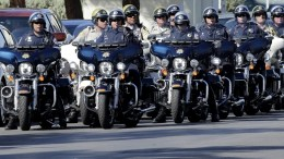 Motorcycle police line up after escorting US President Donald J. Trump to University Medical Center to meet with hospital personnel and victims of the mass shooting at the Route 91 Harvest Festival in Las Vegas, Nevada, USA, 04 October, 2017. EPA, PAUL BUCK