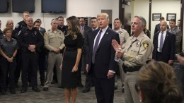 A handout photo made available by the Las Vegas Metropolitan Police Department (LVMPD) shows US President Donald J. Trump (C) and First Lady Melania Trump (C-L) meeting with police officers in Las Vegas, Nevada, USA, 04 October 2017. At least 59 people were killed and more than 500 were injured in a mass shooting in Las Vegas on 01 October 2017, the largest in modern US history. EPA, LVMPD HANDOUT, EDITORIAL USE ONLY