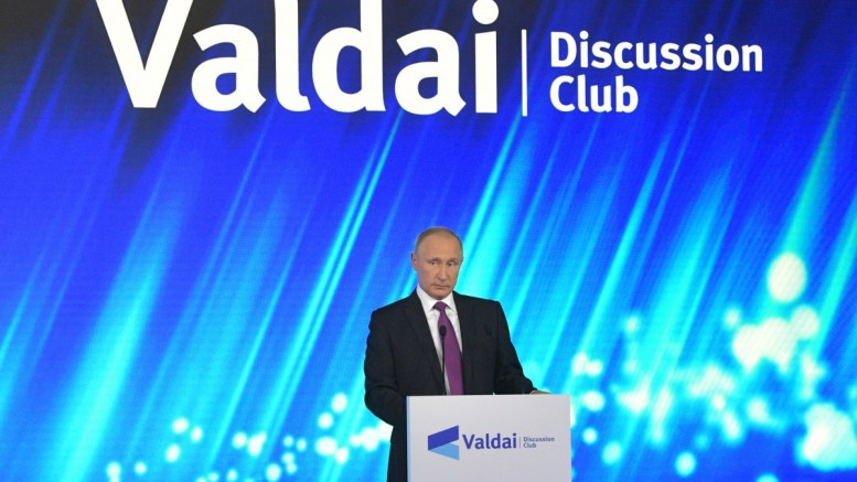 Russian President Vladimir Putin speaks at a plenary session titled 'The World of the Future: Moving Through Conflict to Cooperation', of an annual meeting of the Valdai International Discussion Club in Sochi, Russia, 19 October 2017. EPA, ALEXANDER ZEMLIANICHENKO / POOL MANDATORY CREDIT