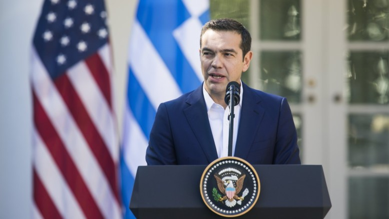 File Photo: Greek Prime Minister Alexis Tsipras and US President Donald J. Trump (not pictured) hold a joint press conference in the Rose Garden of the White House in Washington, DC, USA, 17 October 2017. EPA, JIM LO SCALZO