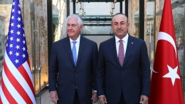 A handout picture provided by Turkish Foreign Minister Press office shows, Turkish Foreign Minister Mevlut Cavusoglu (R) standing with US Secretary of State Rex Tillerson (L) during their meeting in Ankara, Turkey, 09 July 2017.  EPA/TURKISH FOREIGN MINISTER PRESS OFFICE HANDOUT  HANDOUT EDITORIAL USE ONLY/NO SALES
