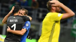 Italy's goalkeeper Gianluigi Buffon (L) and teammate defenders Giorgio Chiellini show their dejection at the end of the FIFA World Cup 2018 qualification playoff second leg soccer match between Italy and Sweden at the Giuseppe Meazza stadium in Milan, Italy, 13 November 2017. Sweden won 1-0 on aggregate. EPA, DANIEL DAL ZENNARO