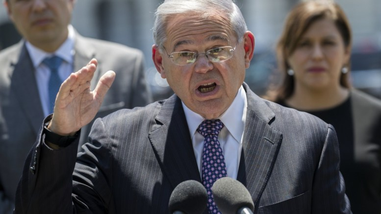 US Democratic Senator from New Jersey Bob Menendez delivers remarks at a press conference on the US Capitol grounds in Washington, DC, USA. EPA, SHAWN THEW