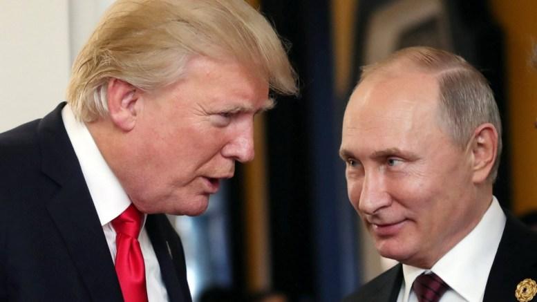 FILE PHOTO. Russian President Vladimir Putin (R) and US President Donald J. Trump (L) talk at the break of a leader's meeting at the 25th Asia-Pacific Economic Cooperation (APEC) summit. EPA/MIKHAIL KLIMENTYEV/SPUTNIK/KREMLIN POOL MANDATORY CREDIT