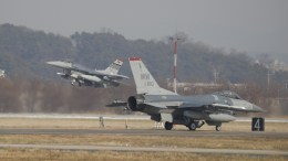 US Air Force F-16 fighter jets take part in a joint aerial drill called 'Vigilant Ace' between the US and South Korea, at the Osan Air Base in Pyeongtaek, South Korea, 06 December 2017. EPA, KIM HONG-JI / POOL