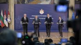 File Photo: Ο πρωθυπουργός της Ρουμανίας, Μιχάι Τουντόσε (Α), ο πρωθυπουργός της Βουλγαρίας, Μπόικο Μπορίσοφ (2Α), ο Πρόεδρο της Σερβίας, Αλεξάνταρ Βούτσιτς (3Α) και ο πρωθυπουργός της Ελλάδας, Αλέξης Τσίπρας (4Α), παραθέτουν συνέντευξη Τύπου κατά τη δεύτερη ημέρα της δεύτερης τετραμερής συνόδου Ελλάδας-Βουλγαρίας-Σερβίας-Ρουμανίας, στο προεδρικό μέγαρο του Βελιγραδίου, Σερβία, Σάββατο 9 Δεκεμβρίου 2017. ΑΠΕ-ΜΠΕ, ΓΡΑΦΕΙΟ ΤΥΠΟΥ ΠΡΩΘΥΠΟΥΡΓΟΥ, Andrea Bonetti
