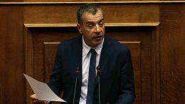 Εμμένοντας στη θέση του για το Σκοπιανό ο Σταύρος Θεοδωράκης, επανέλαβε την ονομασία νια λέξης στη σλαβική διάλεκτο.  Φωτογραφία AΠΕ - ΜΠΕ