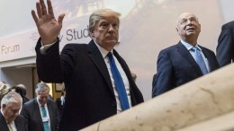 US President Donald Trump, arrives at the Congress Center with Klaus Schwab, Founder and Executive Chairman of the World Economic Forum, WEF, during the 48th Annual Meeting of the WEF, in Davos, Switzerland, 25 January 2018. The meeting brings together enterpreneurs, scientists, chief executive and political leaders in Davos January 23 to 26. EPA/GIAN EHRENZELLER