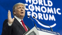 US President Donald J. Trump adresses a plenary session during the 48th Annual Meeting of the World Economic Forum (WEF) in Davos, Switzerland, 26 January 2018. The meeting brings together entrepreneurs, scientists, chief executive and political leaders in Davos from 23 to 26 January.  EPA/LAURENT GILLIERON
