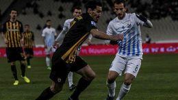 Ο παίκτης της ΑΕΚ, Λάζαρος Χριστοδουλόπουλος (Κ), διεκδικεί την κατοχή της μπάλας από τον παίκτη της Λαμίας, Αλέξανδρο Καραγιάννη (Δ), κατά τη διάρκεια του αγώνα ποδοσφαίρου ΑΕΚ-Λαμία για τη 19η αγωνιστική του πρωταθλήματος Super League, που διεξήχθη στο Ολυμπιακό Αθλητικό Κέντρο Αθηνών, Σάββατο 27 Ιανουαρίου 2018. ΑΠΕ-ΜΠΕ/ ΑΠΕ-ΜΠΕ/ ΠΑΝΑΓΙΩΤΗΣ ΜΟΣΧΑΝΔΡΕΟΥ