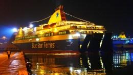 Το πλοίο Blue Star Dilos κατέπλευσε πρώτο για το νέο έτος 2018 στο λιμάνι του Πειραιά, Δευτέρα 1η Ιανουαρίου 2018. ΑΠΕ-ΜΠΕ, ΓΙΩΡΓΟΣ ΧΡΙΣΤΑΚΗΣ