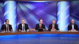 Οι υποψήφιοι για την προεδρία.  Νίκος Αναστασιάδης, Νικόλας Παπαδόπουλος, Σταύρος Μαλάς, Γιώργος Λιλλήκας και Χρίστος Χρίστου, στην  διακαναλική συζήτηση στο ΡΙΚ.  Φωτογραφία ΚΥΠΕ