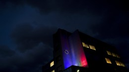 File PHOTO: The EU flag and Bulgaria flag glow on the facade of an office building in Sofia, Bulgaria. EPA, VASSIL DONEV