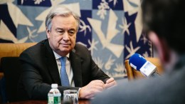 UN Secretary General Antonio Guterres in his office in the UN Headquarters in New York, New York, USA. EPA, ALBA VIGARAY