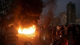 File Photo: Supporters of Lebanese Parliament Speaker Nabih Berri burn tires as they block the main road during a protest in Beirut, Lebanon, 29 January 2018. Protests erupted following a row over a leaked video in which Foreign Minister Gebran Bassil allegedly calls Parliament Speaker Nabih Berri a 'thug' in a closed meeting at the southern suburb. EPA, WAEL HAMZEH