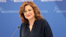 Η εκπρόσωπος τύπου της Νέας Δημοκρατίας, ευρωβουλευτής Μαρία Σπυράκη στα κεντρικά γραφεία του Κόμματος. ΑΠΕ-ΜΠΕ, Παντελής Σαίτας