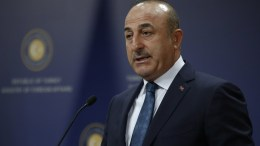 Turkish Foreign Minister Mevlut Cavusoglu speaks during a press conference. FILE PHOTO. EPA/TUMAY BERKIN