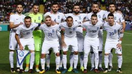 epa06250919 Greece's starting eleven poses for photographers before the FIFA World Cup 2018 qualifying Group H soccer match between Cyprus and Greece at GSP Stadium in Nicosia, Cyprus, 07 October 2017. EPA/STRINGER