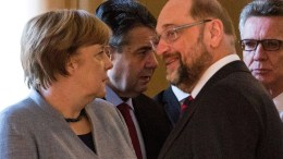 FILE PHOTO. German Chancellor Angela Merkel, German Foreign Minister Sigmar Gabriel, the leader of the German Social Democratic Party (SPD), Martin Schulz, and German Interior Minister Thomas de Maiziere. FILE PHOTO. EPA/OMER MESSINGER