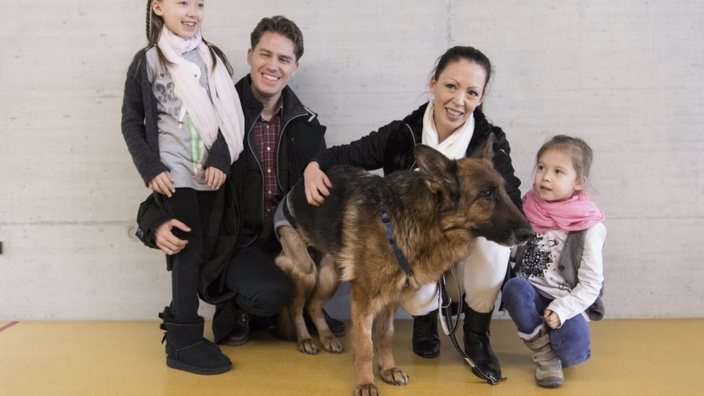 The family and dog owners Julia, Andreas, Karin and Marie Ehret Vaeth, from left, pose with their German shepherd dog Rapunzel in a veterinary hospital in Zurich, Switzerland, 24 February 2018. Rapunzel was missing in August 2017 in Frankfurt and turned up six months later near Zurich after a 400 km journey. EPA/ENNIO LEANZA