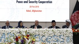 Afghanistan's president Ashraf Ghani (C) speaks during the opening ceremony of the Kabul Process Conference at the presidential palace in Kabul, Afghanistan, 28 February 2018. EPA, JAWAD JALALI