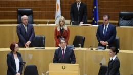 Ο επανεκλεγείς Πρόεδρος της Δημοκρατίας κ. Νίκος Αναστασιάδης στην τελετή εγκατάστασής του ως Προέδρου της Κυπριακής Δημοκρατίας, Λευκωσία 28 Φεβρουαρίου 2018. ΚΥΠΕ,ΚΑΤΙΑ ΧΡΙΣΤΟΔΟΥΛΟΥ