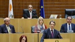 Ο επανεκλεγείς Πρόεδρος της Δημοκρατίας κ. Νίκος Αναστασιάδης στην τελετή εγκατάστασής του ως Προέδρου της Κυπριακής Δημοκρατίας, Λευκωσία 28 Φεβρουαρίου 2018. ΚΥΠΕ, ΚΑΤΙΑ ΧΡΙΣΤΟΔΟΥΛΟΥ