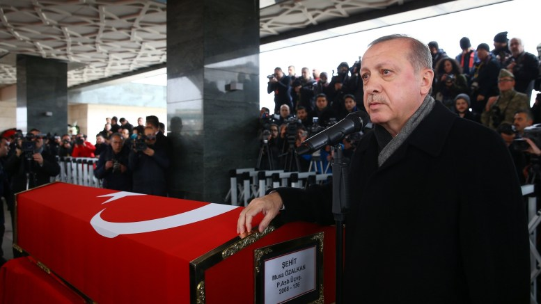 File Photo: Turkish President Recep Tayyip Erdogan attending the funeral ceremony of Musa Ozalkan, a Turkish soldier who was killed in cross-border clashes with Kurdish Popular Protection Units (YPG) forces. EPA, TURKISH PRESIDENTAL PRESS OFFICE