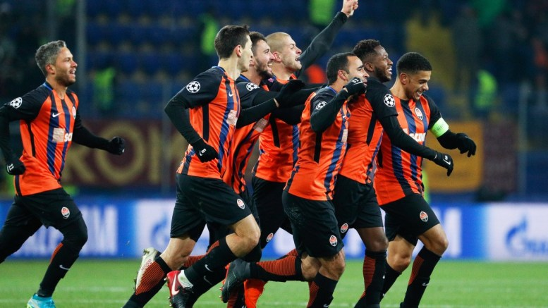Shakhtar's Fred (2-R) celebrates with his teammates after scoring the 2-1 lead during the UEFA Champions League round of 16, first leg soccer match between Shakhtar Donetsk and AS Roma in Kharkiv, Ukraine, 21 February 2018. EPA, SERGEY DOLZHENKO