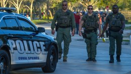 Emergency personnel at the scene of a shooting at Marjory Stoneman Douglas High School in Parkland, Florida, USA, 14 February 2018. Multiple fatalities have been reported and several more injured at a high school northwest of Miami. EPA, GIORGIO VIERA