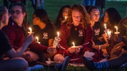 Hundreds of community members take part in a candlelight vigil at the Amphitheater at Pine Trails Park, Parkland, Florida, USA, 15 February 2018. The vigil honors victims of a mass shooting that took place at Marjory Stoneman Douglas High School on 14 February that left 17 dead. EPA, GIORGIO VIERA