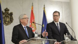President of the European Commision Jean-Claude Juncker (L) talks during the press conference with Serbian President Aleksandar Vucic (R) in Belgrade, Serbia, 26 February 2018. Juncker is on a official visit to Serbia meeting Serbia's top officials. EPA, ANDREJ CUKIC